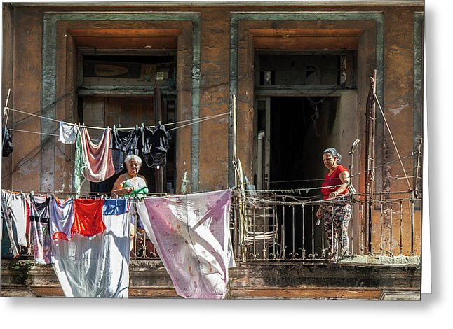 Cuban Women Hanging Laundry In Havana Cuba - Greeting Card