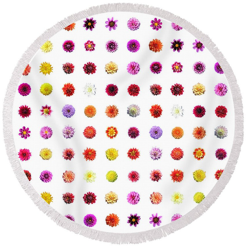 Dahlias - Round Beach Towel