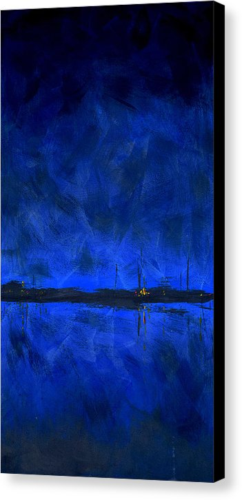 Deep Blue Waterfront At Night Triptych 1 Of 3 - Canvas Print