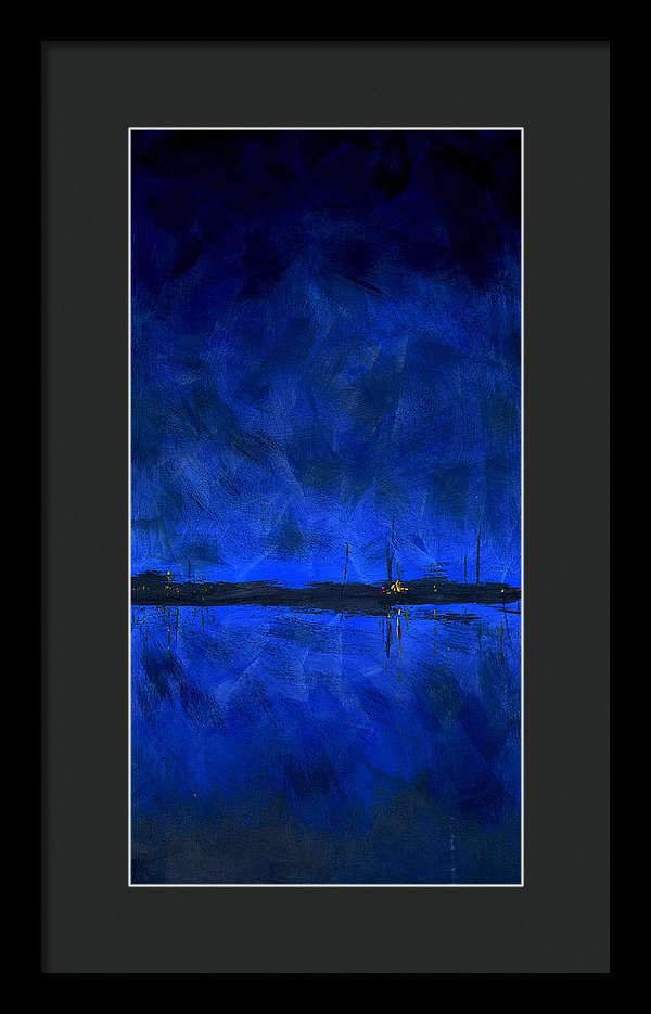 Deep Blue Waterfront At Night Triptych 1 Of 3 - Framed Print