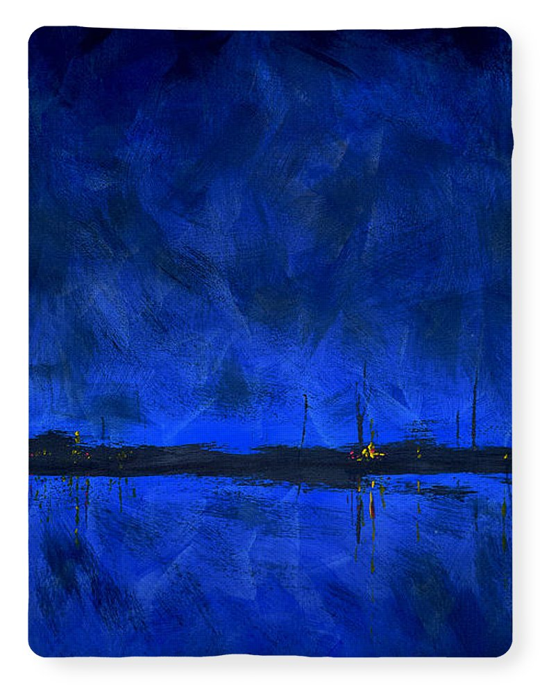Deep Blue Waterfront At Night Triptych 1 Of 3 - Blanket