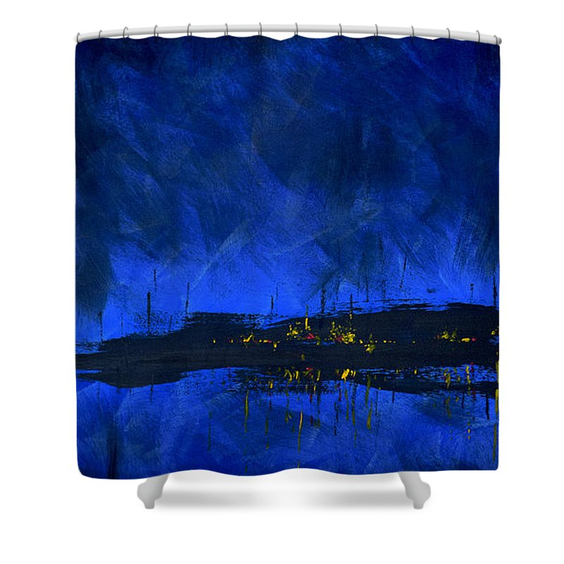 Deep Blue Waterfront At Night Triptych 2 Of 3 - Shower Curtain