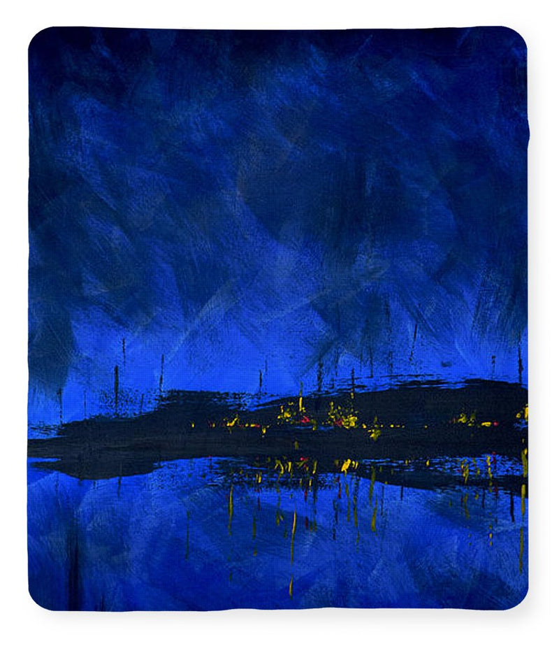 Deep Blue Waterfront At Night Triptych 2 Of 3 - Blanket