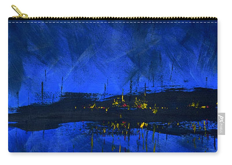 Deep Blue Waterfront At Night Triptych 2 Of 3 - Carry-All Pouch
