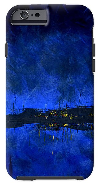 Deep Blue Waterfront At Night Triptych 2 Of 3 - Phone Case