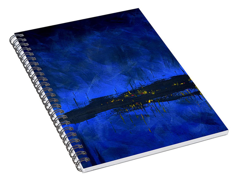Deep Blue Waterfront At Night Triptych 2 Of 3 - Spiral Notebook