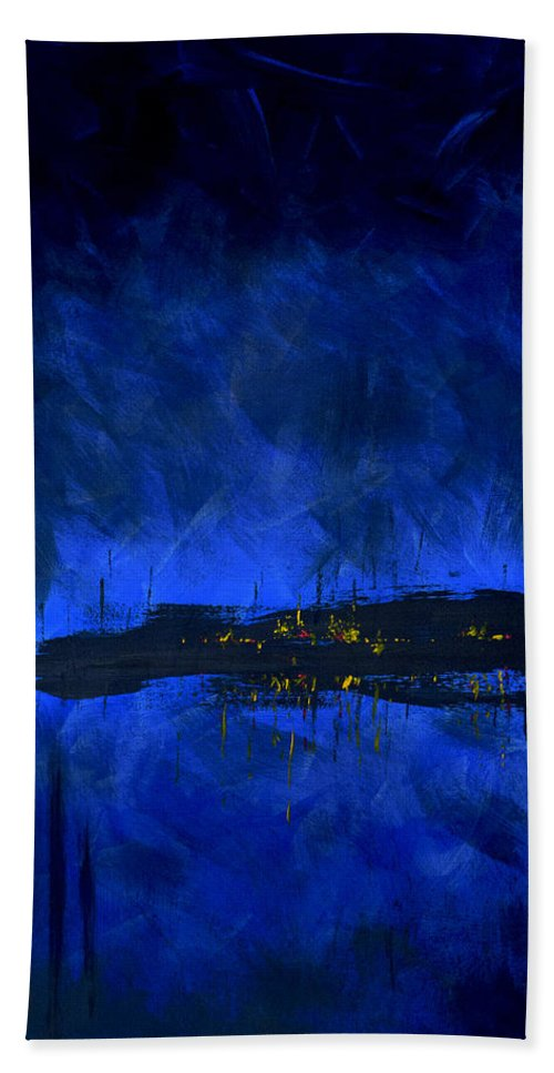 Deep Blue Waterfront At Night Triptych 2 Of 3 - Bath Towel