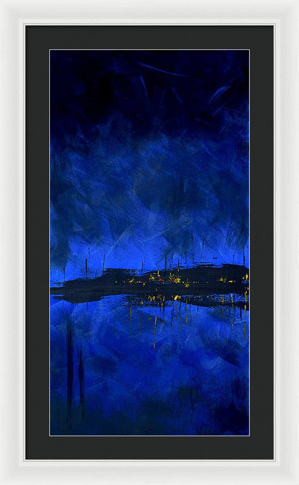 Deep Blue Waterfront At Night Triptych 2 Of 3 - Framed Print