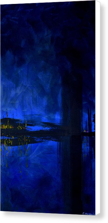 Deep Blue Waterfront At Night Triptych 3 Of 3 - Canvas Print