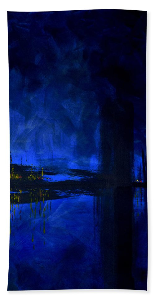 Deep Blue Waterfront At Night Triptych 3 Of 3 - Beach Towel
