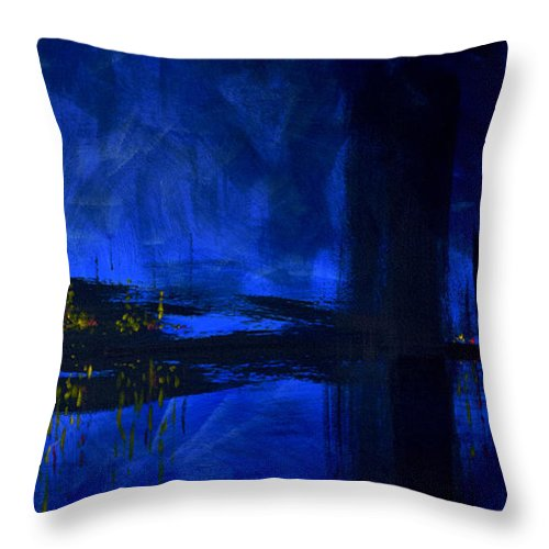 Deep Blue Waterfront At Night Triptych 3 Of 3 - Throw Pillow