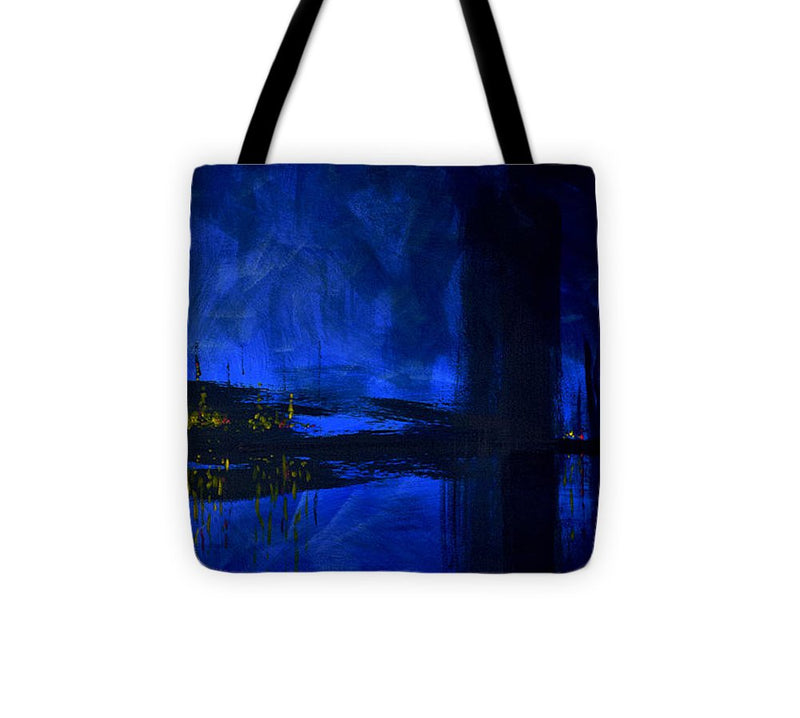 Deep Blue Waterfront At Night Triptych 3 Of 3 - Tote Bag