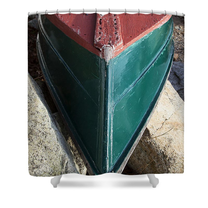 Old Wooden Painted Duxbury Skiff - Shower Curtain