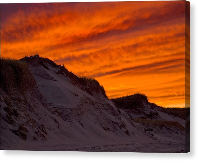 Fiery Sunset Over The Dunes - Canvas Print