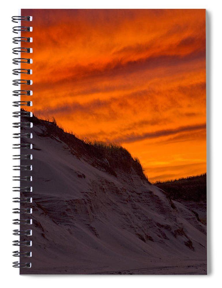 Fiery Sunset Over The Dunes - Spiral Notebook