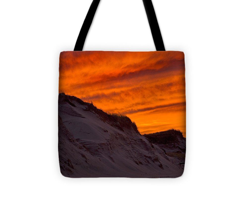 Fiery Sunset Over The Dunes - Tote Bag