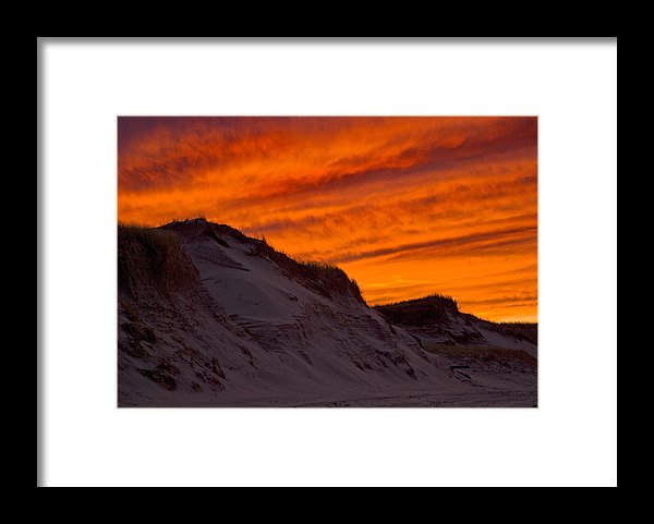 Fiery Sunset Over The Dunes - Framed Print