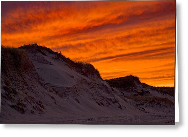 Fiery Sunset Over The Dunes - Greeting Card