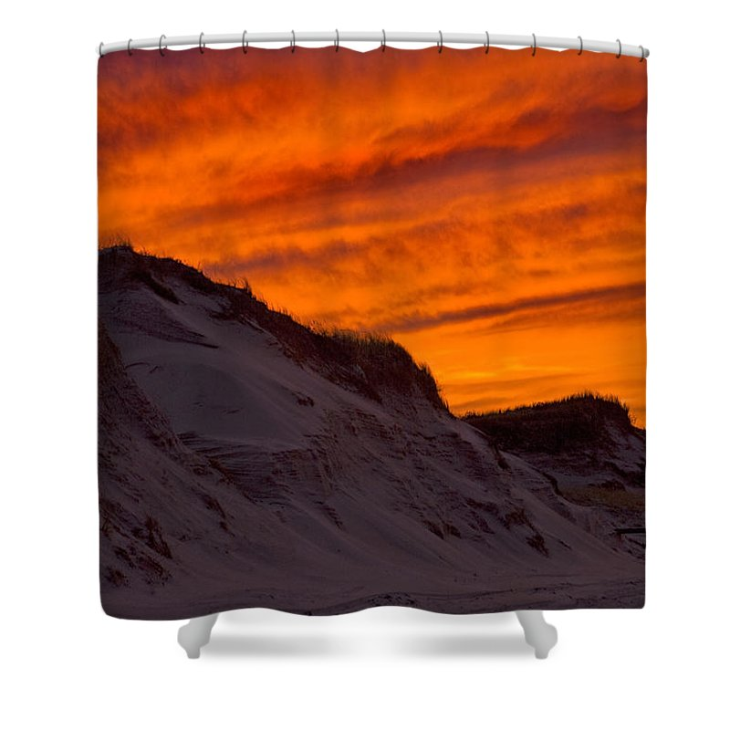 Fiery Sunset Over The Dunes - Shower Curtain