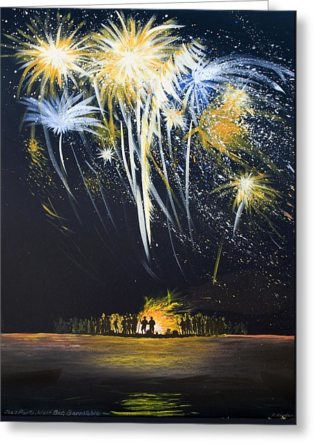 Fireworks Bonfire On The West Bar - Greeting Card