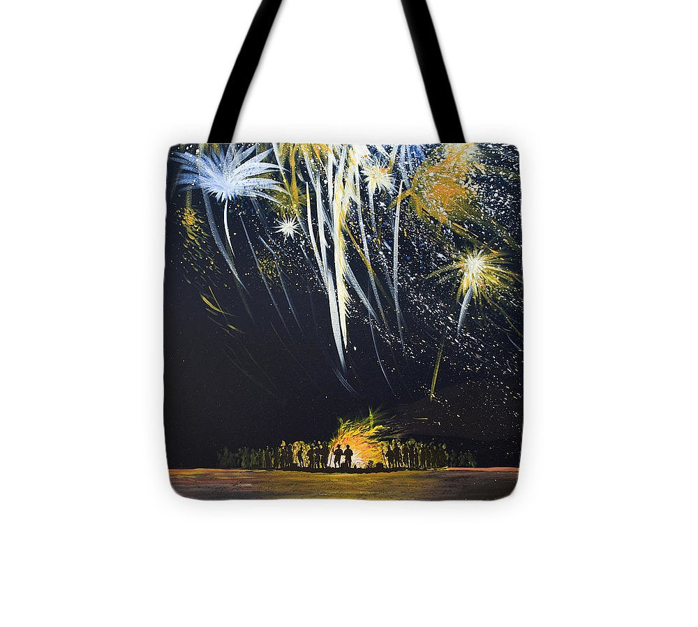Fireworks Bonfire On The West Bar - Tote Bag