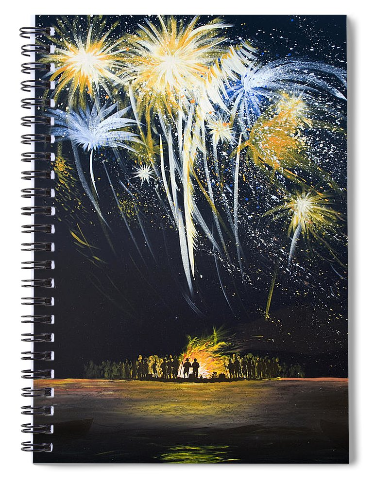Fireworks Bonfire On The West Bar - Spiral Notebook