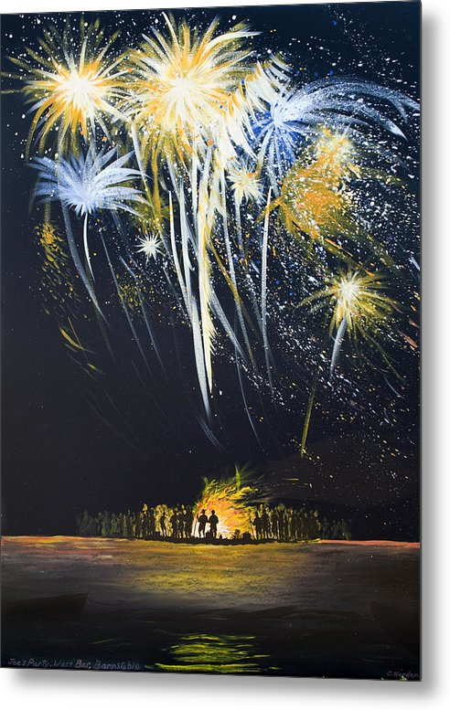 Fireworks Bonfire On The West Bar - Metal Print