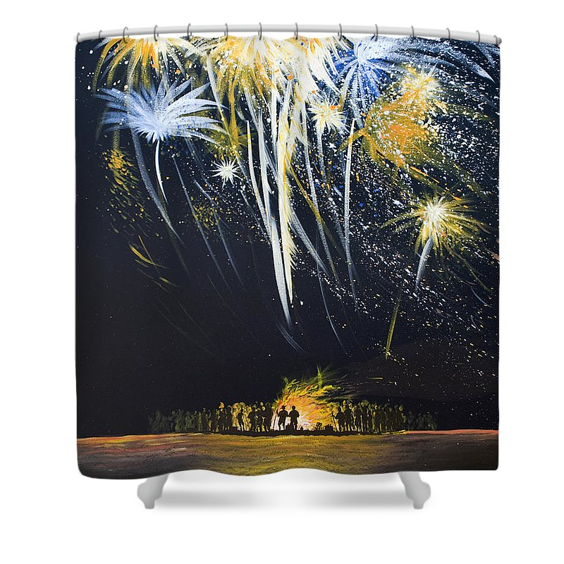 Fireworks Bonfire On The West Bar - Shower Curtain
