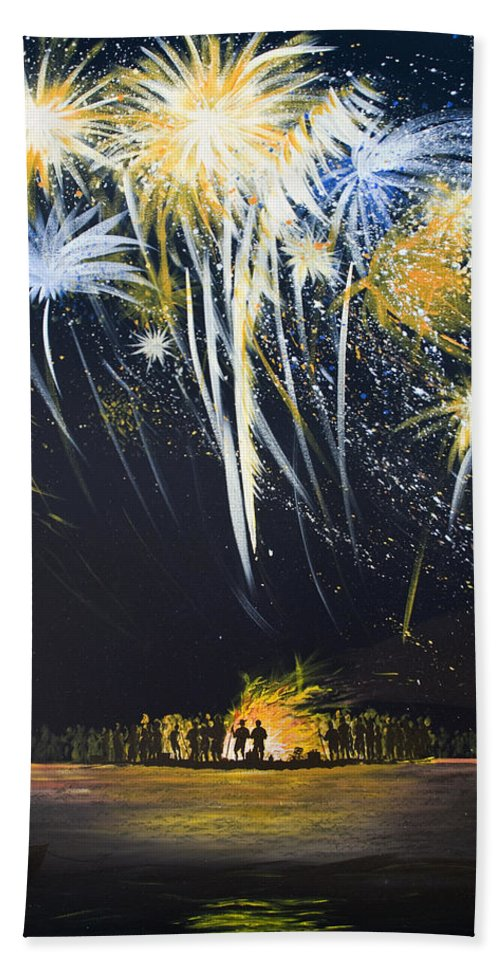 Fireworks Bonfire On The West Bar - Bath Towel