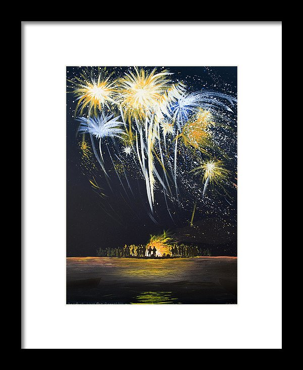 Fireworks Bonfire On The West Bar - Framed Print