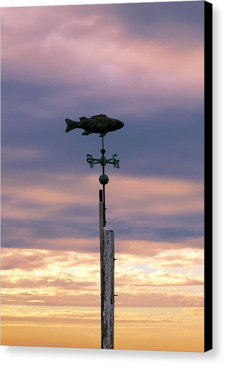 Fish Weather Vane At Sunset - Canvas Print