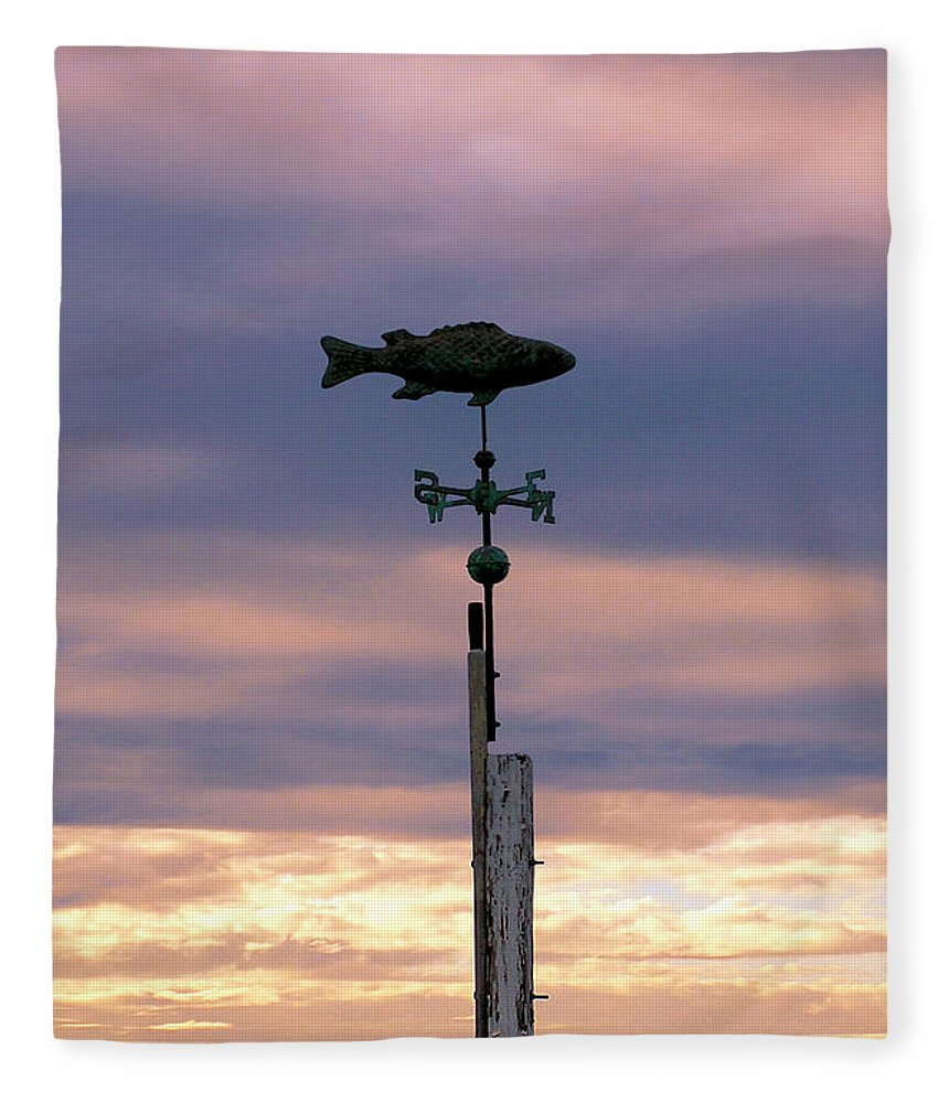 Fish Weather Vane At Sunset - Blanket