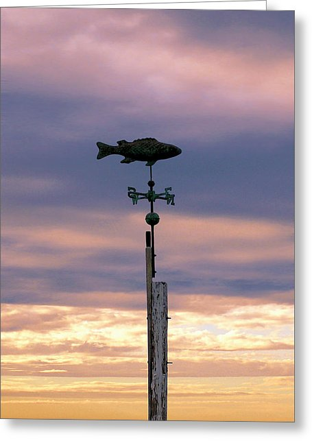 Fish Weather Vane At Sunset - Greeting Card