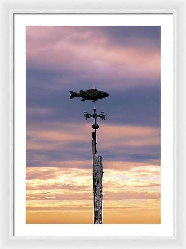 Fish Weather Vane At Sunset - Framed Print