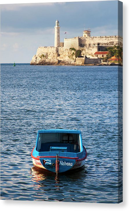 Fishing Boat At Morro Castle Havana Cuba - Canvas Print