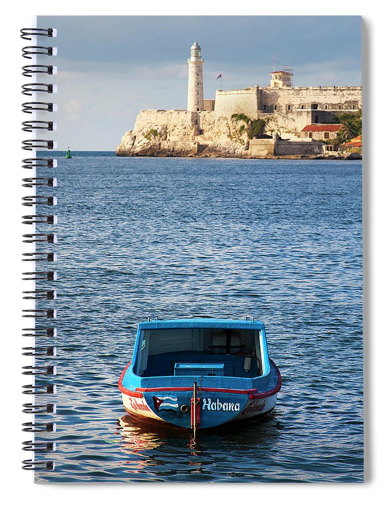 Fishing Boat At Morro Castle Havana Cuba - Spiral Notebook