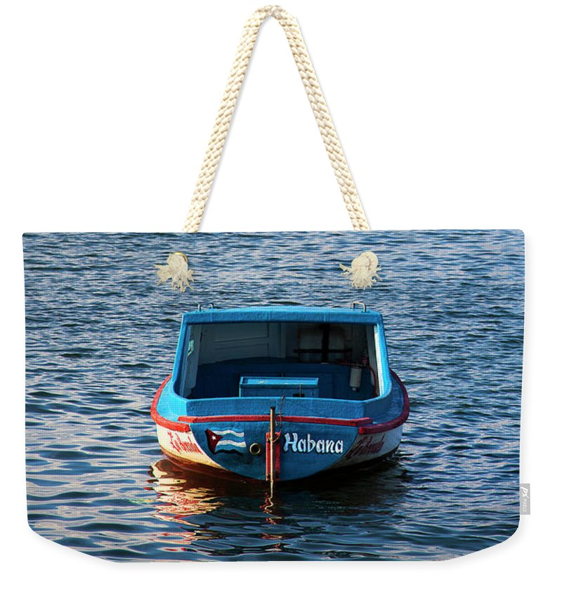 Fishing Boat At Morro Castle Havana Cuba - Weekender Tote Bag