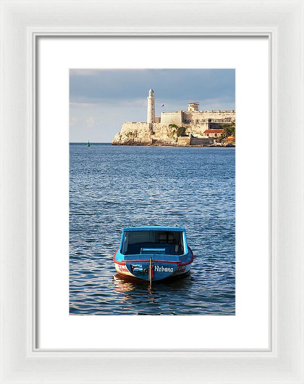Fishing Boat At Morro Castle Havana Cuba - Framed Print