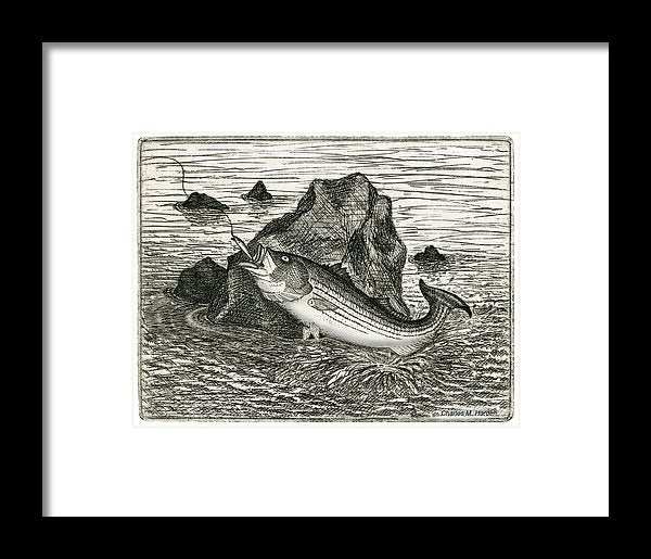 Fishing The Rocks - Framed Print
