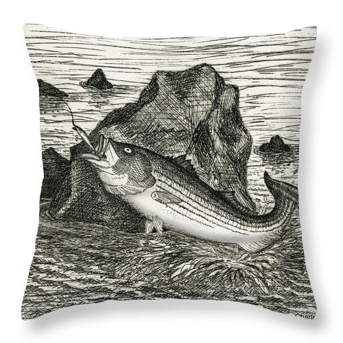 Fishing The Rocks - Throw Pillow