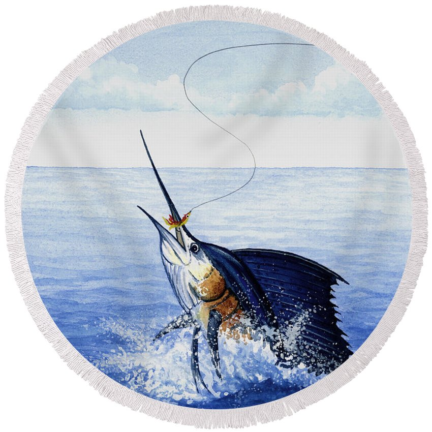 Fly Fishing For Sailfish - Round Beach Towel