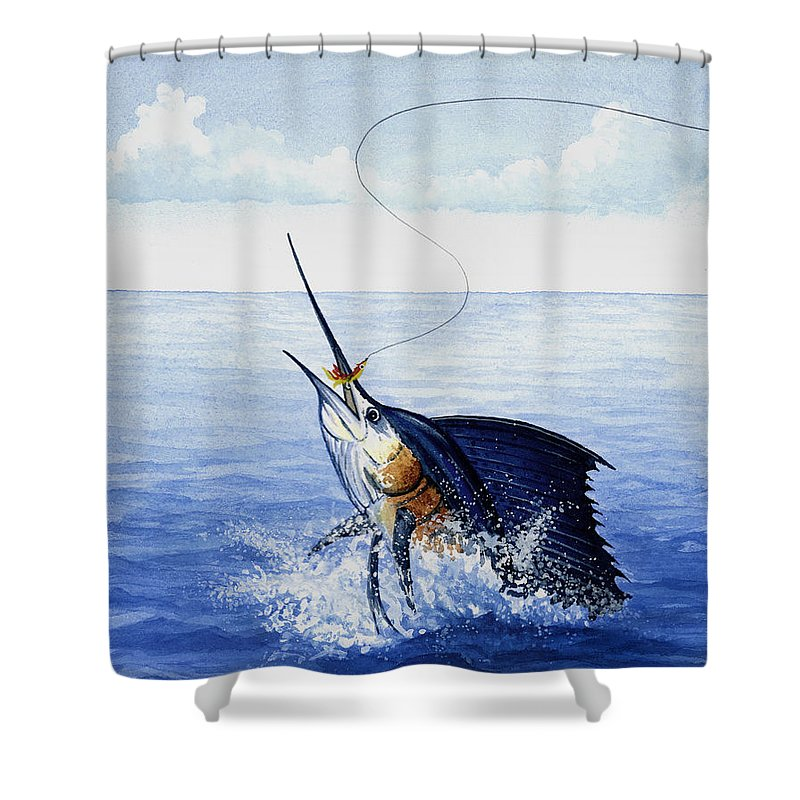 Fly Fishing For Sailfish - Shower Curtain