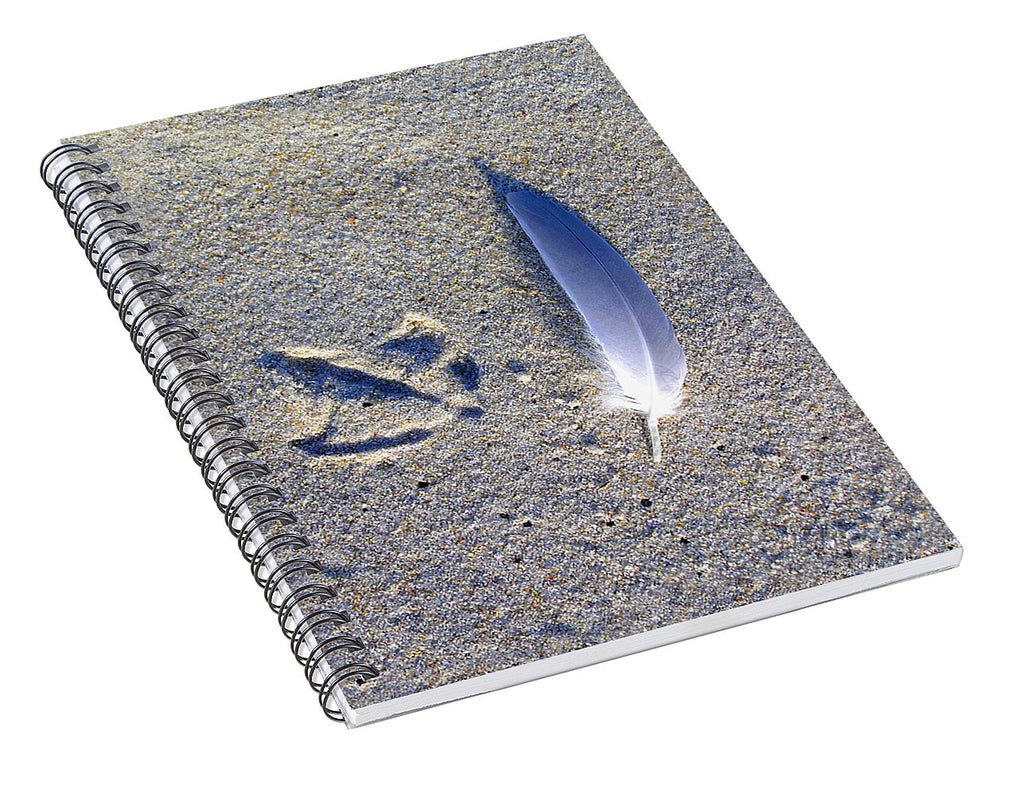 Footprint And Feather - Spiral Notebook