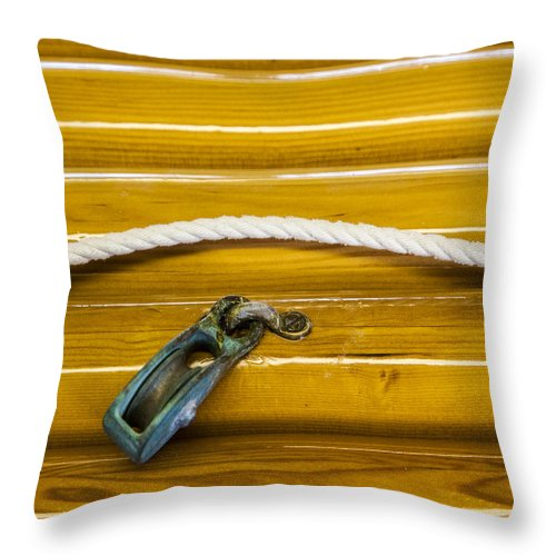 Fresh Varnish On Old Spars With Rope And Pulley - Throw Pillow