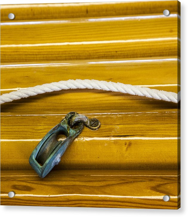 Fresh Varnish On Old Spars With Rope And Pulley - Acrylic Print