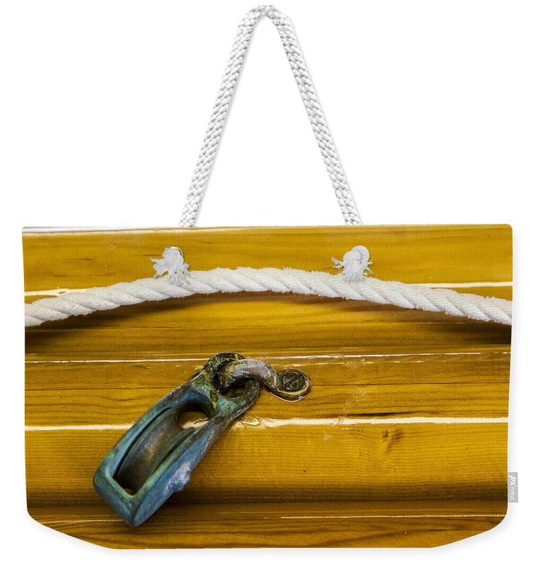 Fresh Varnish On Old Spars With Rope And Pulley - Weekender Tote Bag