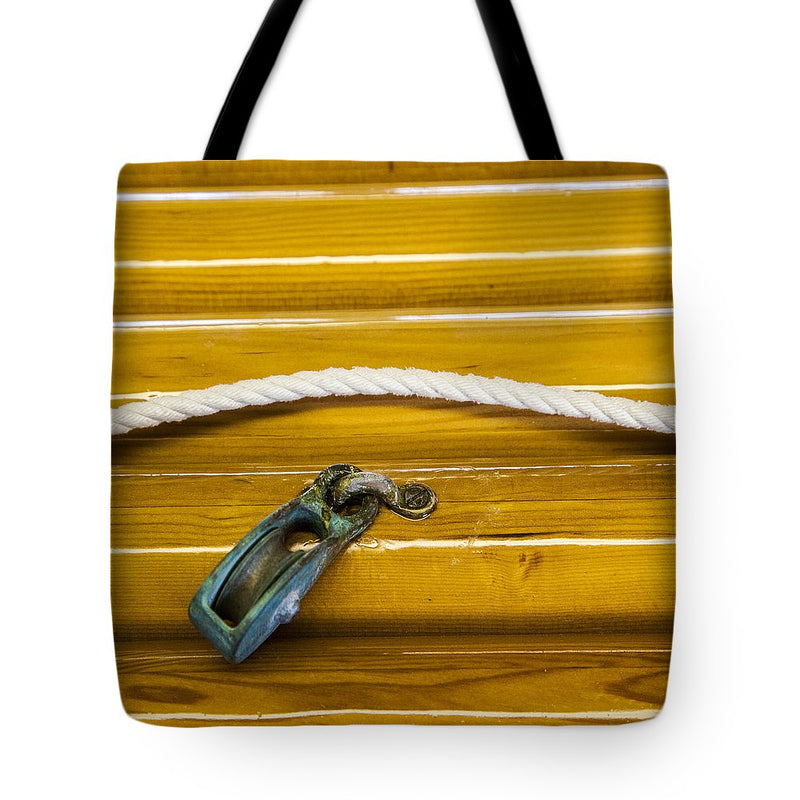 Fresh Varnish On Old Spars With Rope And Pulley - Tote Bag