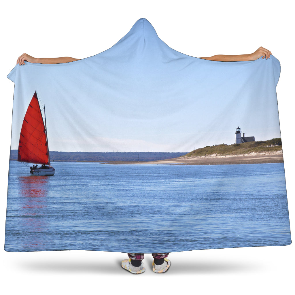Catboat and Lighthouse Hooded Blanket