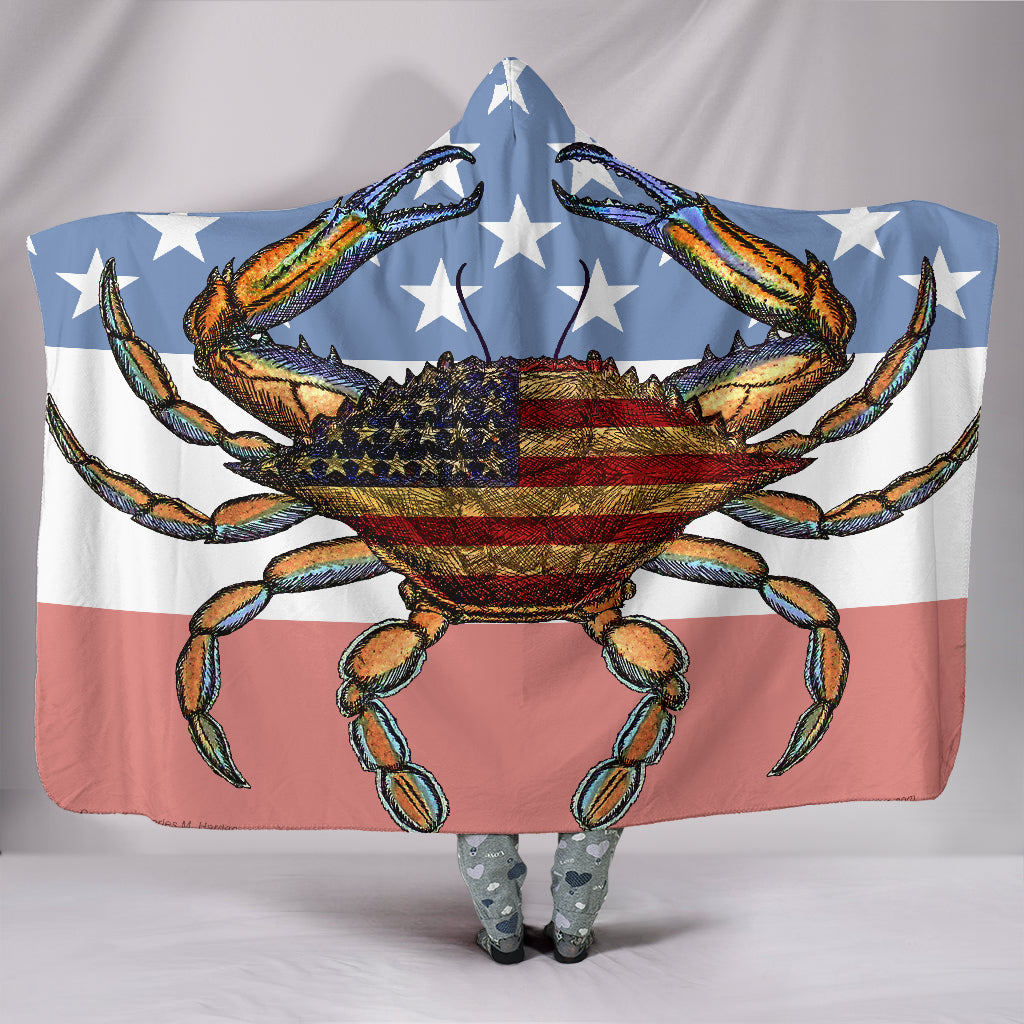 Patriotic Crab with Faded American Flag Hooded Blanket