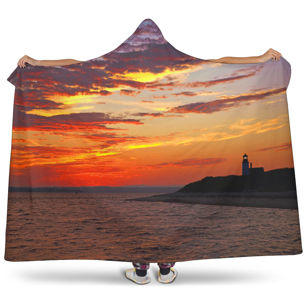 Sandy Neck Sunset Hooded Blanket